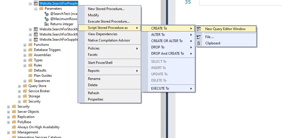 Creating stored procedure in ssms Step 3